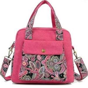 Handbags - Rose Pink Paisley Canvas Tote Shoulder Bag